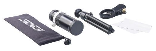 Somikon Vorsatz-Tele-Objektiv 20x CVL-200.tel für Smartphones, Aluminium-Gehäuse & Stativ / Bild: PEARL.GmbH / www.pearl.de