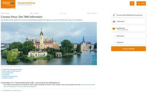 Die Infoseite zum Corona-Virus unter www.tourismus.mv / Foto: TMV