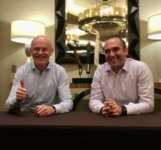 Left: Hans-Ulrich Frech, Global Vice President; GELITA Right: Alexander Lorestani, CEO and co-founder; Geltor