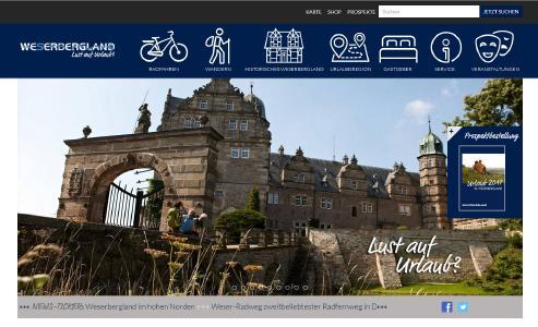 Screenshot neue Internetseite für das Weserbergland