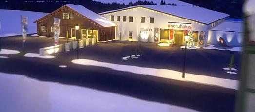 Es weihnachtet in 3D: Das schuhplus-Weihnachtsdorf als virtuelle Animation