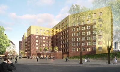 """Ansicht des Hotel-Ensembles vom Mintropplatz aus (Foto-Credit: """"greeen! architects"""")"""