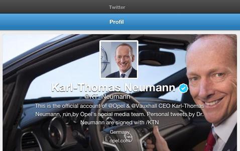 Als der erste Vorstandsvorsitzende eines europäischen Automobilherstellers informiert Dr. Karl-Thomas Neumann ab sofort aktiv über den Kurznachrichtendienst Twitter. Unter dem Nutzernamen @KT_Neumann wird er zu faszinierenden Opel-Modellen, den wirtschaftlichen Fortschritten der Marke und der Mobilität ganz allgemein in den Dialog treten
