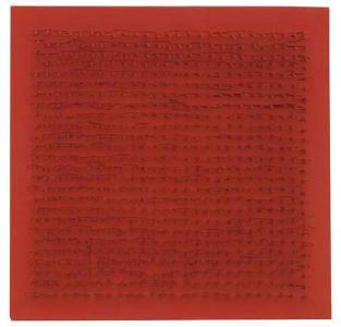 Bernard Aubertin - Tableau Clous1990 - Chiodi e colore acrilico rosso su legno - 30 x 30 cm - Prezzo iniziale: € 1- Un'opera simile è stata venduta nel 2015 da - Ketterer Kunst per € 15.000